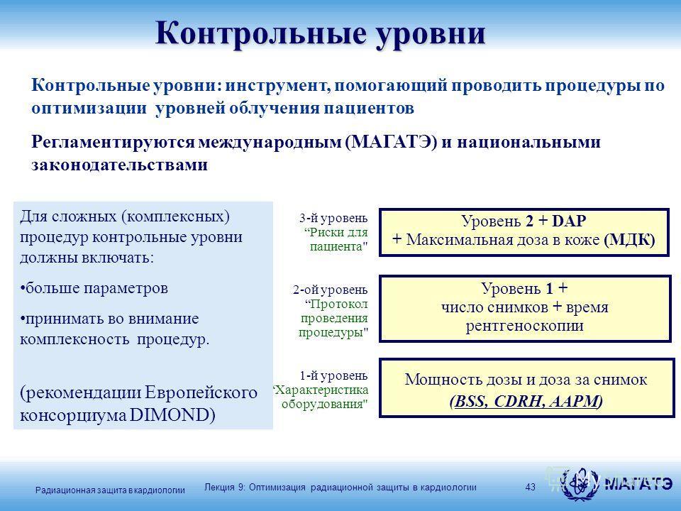 МАГАТЭ Радиационная защита в кардиологии 43 Контрольные уровни 3-й уровеньРиски для пациента