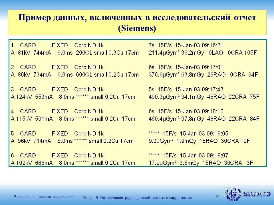 МАГАТЭ Радиационная защита в кардиологии 45 Пример данных, включенных в исследовательский отчет (Siemens) Лекция 9: Оптимизация радиационной защиты в кардиологии