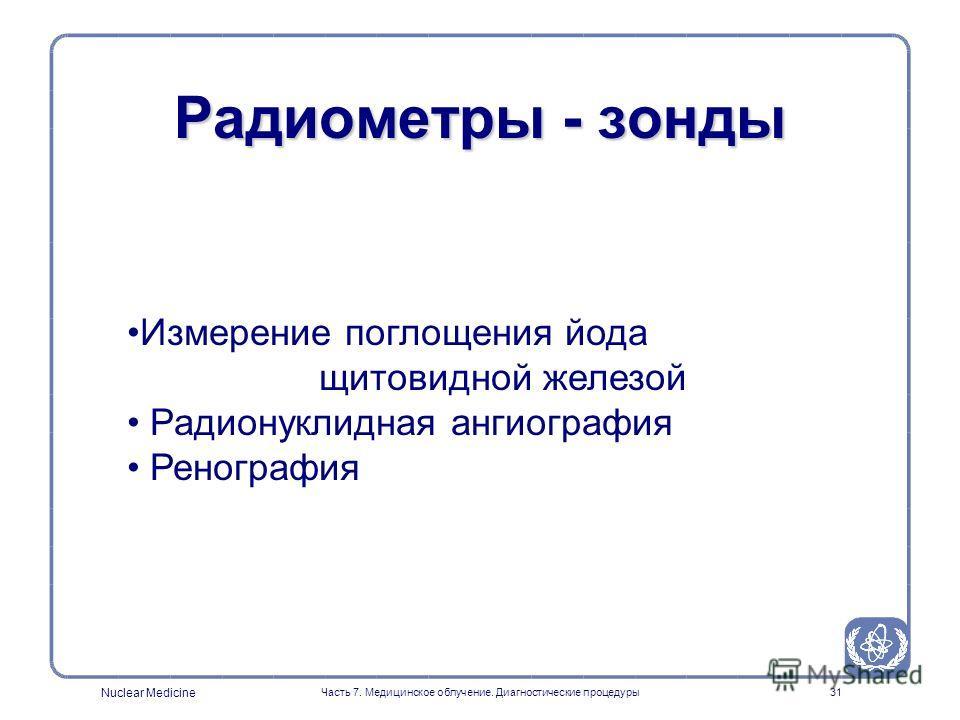 Nuclear Medicine Часть 7. Медицинское облучение. Диагностические процедуры30 Амплитудное распределение NaI(Tl) Скорость счета Пик полной энергии Рассеянное излучение 140кэВ Амплитуда импульсов (энергия)