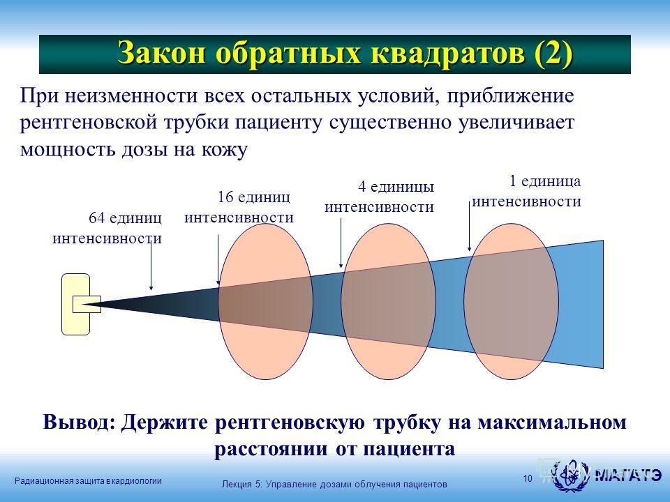 Радиационная защита в кардиологии МАГАТЭ 10 Закон обратных квадратов (2) Лекция 5: Управление дозами облучения пациентов При неизменности всех остальных условий, приближение рентгеновской трубки пациенту существенно увеличивает мощность дозы на кожу