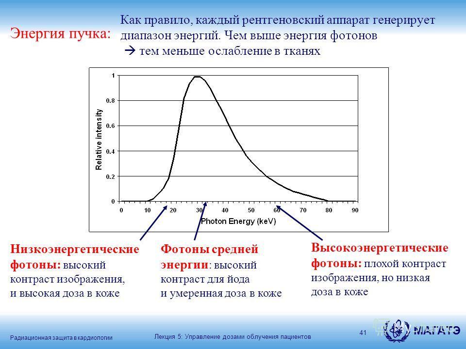 Радиационная защита в кардиологии МАГАТЭ 41 Энергия пучка: Как правило, каждый рентгеновский аппарат генерирует диапазон энергий. Чем выше энергия фотонов тем меньше ослабление в тканях Низкоэнергетические фотоны: высокий контраст изображения, и высо