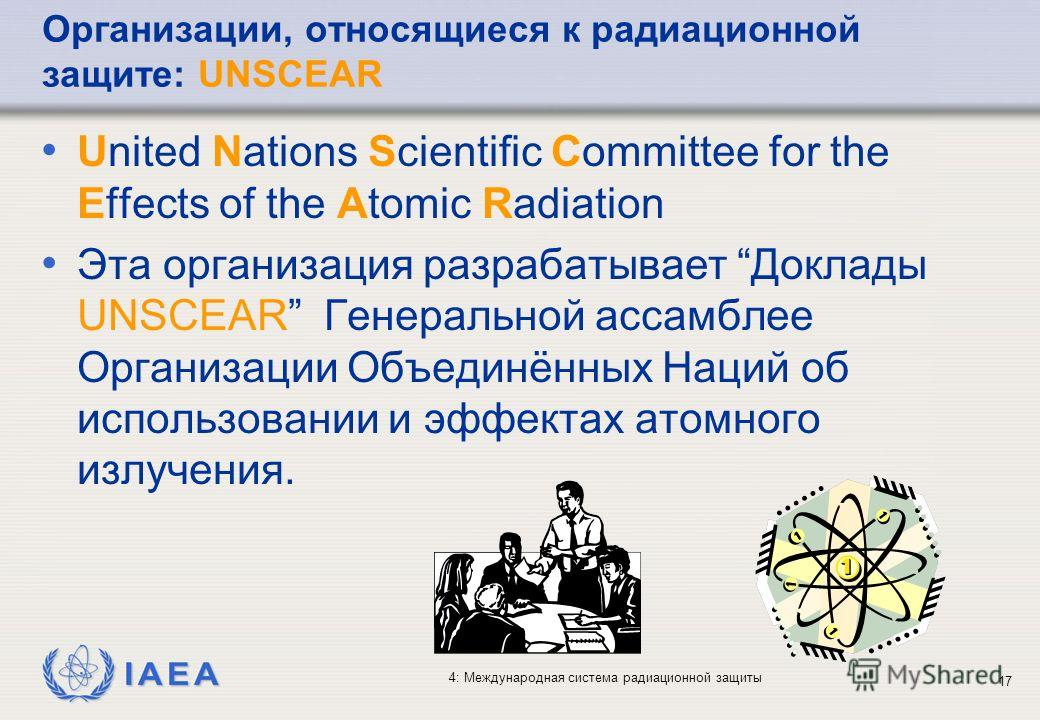 IAEA 4: Международная система радиационной защиты 17 United Nations Scientific Committee for the Effects of the Atomic Radiation Эта организация разрабатывает Доклады UNSCEAR Генеральной ассамблее Организации Объединённых Наций об использовании и эфф