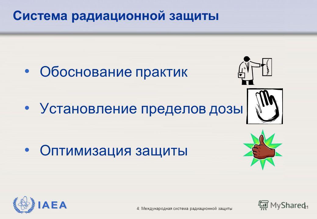 IAEA 4: Международная система радиационной защиты 21 Обоснование практик Установление пределов дозы Оптимизация защиты Система радиационной защиты