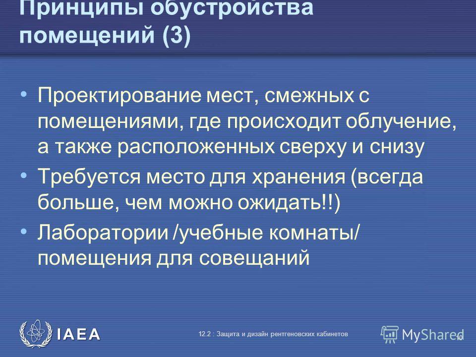 IAEA 12.2 : Защита и дизайн рентгеновских кабинетов 10 Принципы обустройства помещений (3) Проектирование мест, смежных с помещениями, где происходит облучение, а также расположенных сверху и снизу Требуется место для хранения (всегда больше, чем мож