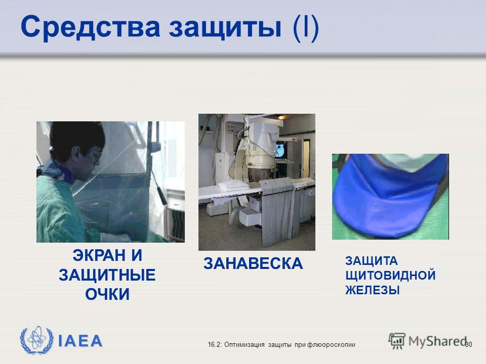 IAEA 16.2: Оптимизация защиты при флюороскопии30 ЗАНАВЕСКА ЗАЩИТА ЩИТОВИДНОЙ ЖЕЛЕЗЫ ЭКРАН И ЗАЩИТНЫЕ ОЧКИ Средства защиты (I)