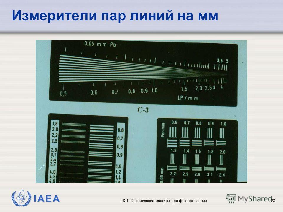 IAEA 16.1: Оптимизация защиты при флюороскопии23 Измерители пар линий на мм
