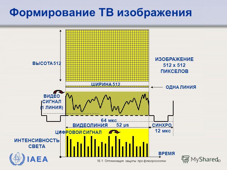 IAEA 16.1: Оптимизация защиты при флюороскопии43 Формирование ТВ изображения СИНХРО 12 мкс ИНТЕНСИВНОСТЬ СВЕТА 64 мкс ВИДЕО СИГНАЛ (1 ЛИНИЯ) 52 µs ВИДЕОЛИНИЯ ВРЕМЯ ЦИФРОВОЙ СИГНАЛ ОДНА ЛИНИЯ ИЗОБРАЖЕНИЕ 512 x 512 ПИКСЕЛОВ ШИРИНА 512 ВЫСОТА 512