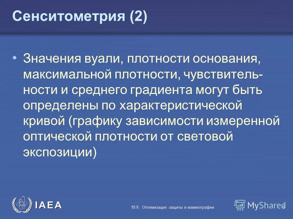 IAEA 19.8 : Оптимизация защиты в маммографии5 Сенситометрия (2) Значения вуали, плотности основания, максимальной плотности, чувствитель- ности и среднего градиента могут быть определены по характеристической кривой (графику зависимости измеренной оп