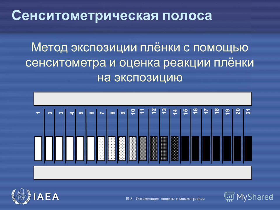 IAEA 19.8 : Оптимизация защиты в маммографии7 Сенситометрическая полоса 123456789 10 111213 1415 161718 19 2021 Метод экспозиции плёнки с помощью сенситометра и оценка реакции плёнки на экспозицию