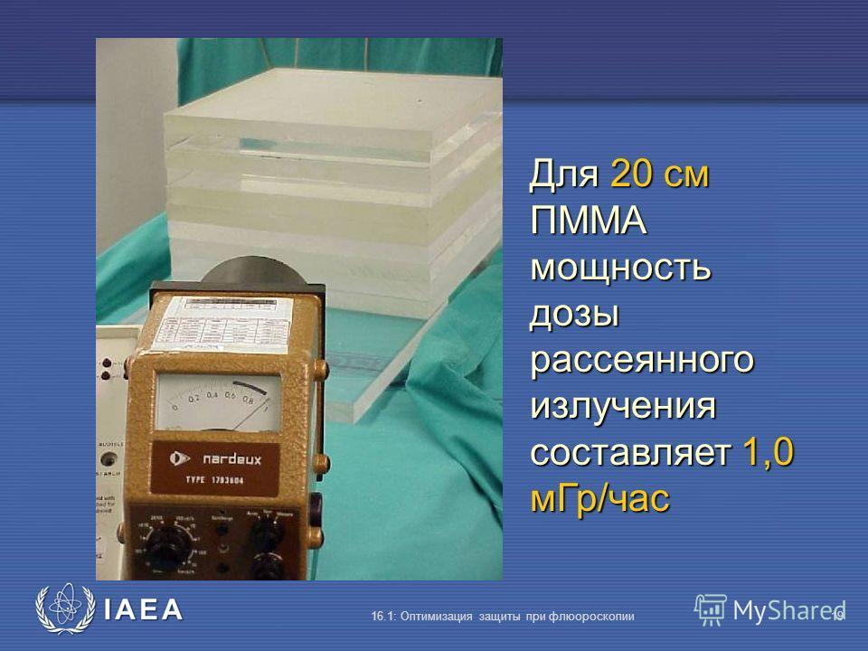 IAEA 16.1: Оптимизация защиты при флюороскопии19 Для 20 cм ПMMA мощность дозы рассеянного излучения составляет 1,0 мГр/час