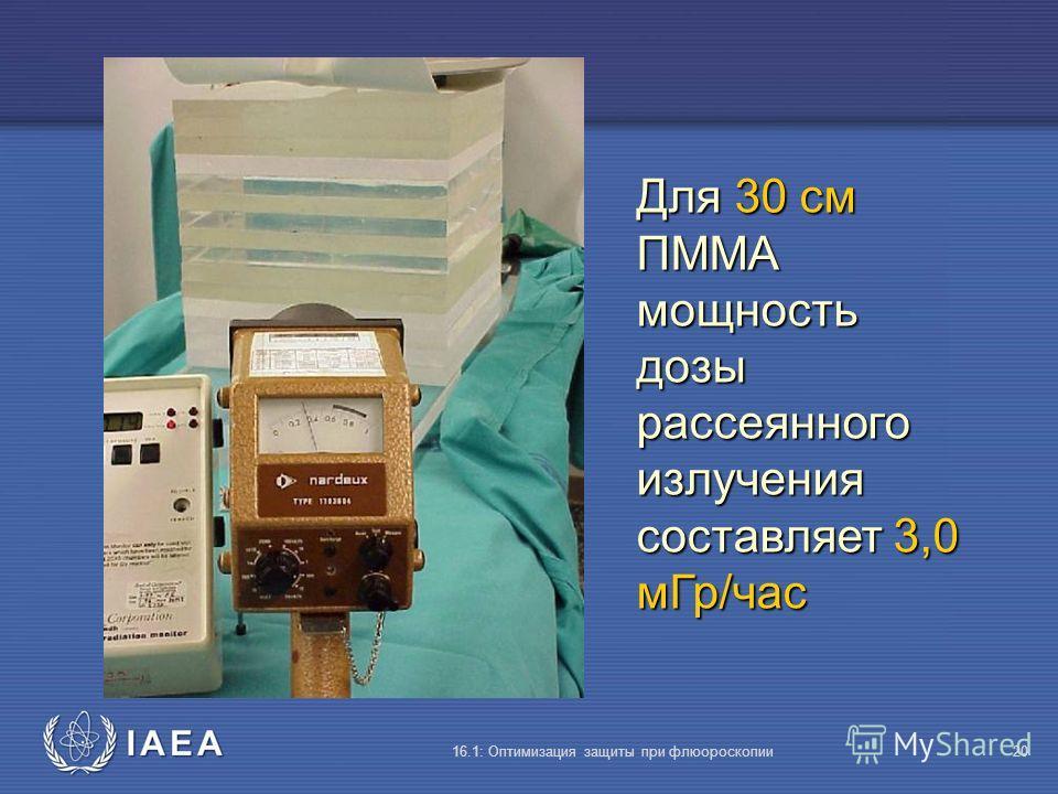 IAEA 16.1: Оптимизация защиты при флюороскопии20 Для 30 cм ПMMA мощность дозы рассеянного излучения составляет 3,0 мГр/час