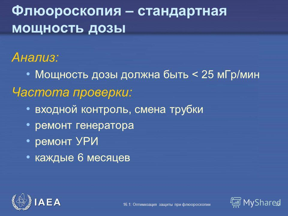 IAEA 16.1: Оптимизация защиты при флюороскопии22 Флюороскопия – стандартная мощность дозы Анализ: Мощность дозы должна быть < 25 мГр/мин Частота проверки: входной контроль, смена трубки ремонт генератора ремонт УРИ каждые 6 месяцев