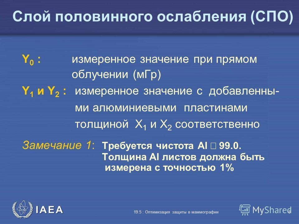 IAEA 19.5 : Оптимизация защиты в маммографии8 Слой половинного ослабления (СПО) Y 0 : измеренное значение при прямом облучении (мГр) Y 1 и Y 2 : измеренное значение с добавленны- ми алюминиевыми пластинами толщиной X 1 и X 2 соответственно Замечание