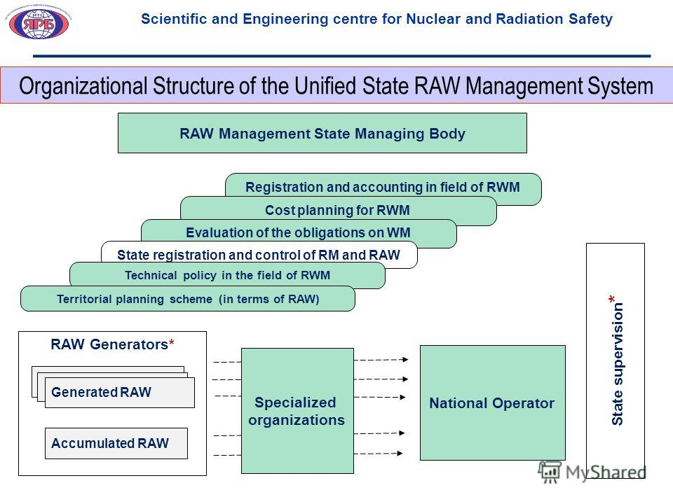 Registration and accounting in field of RWM Cost planning for RWM Evaluation of the obligations on WM RAW Generators* State registration and control of RM and RAW Generated RAW Accumulated RAW National Operator RAW Management State Managing Body Stat
