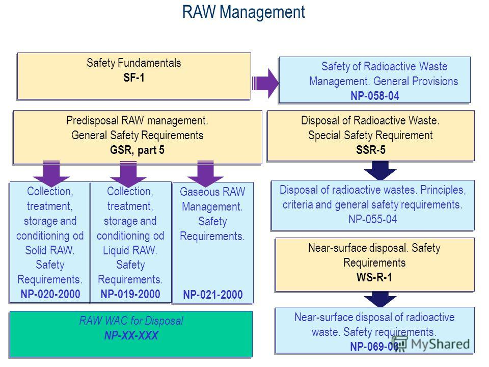 21 RAW Management Predisposal RAW management. General Safety Requirements GSR, part 5 Predisposal RAW management. General Safety Requirements GSR, part 5 Disposal of radioactive wastes. Principles, criteria and general safety requirements. NP-055-04