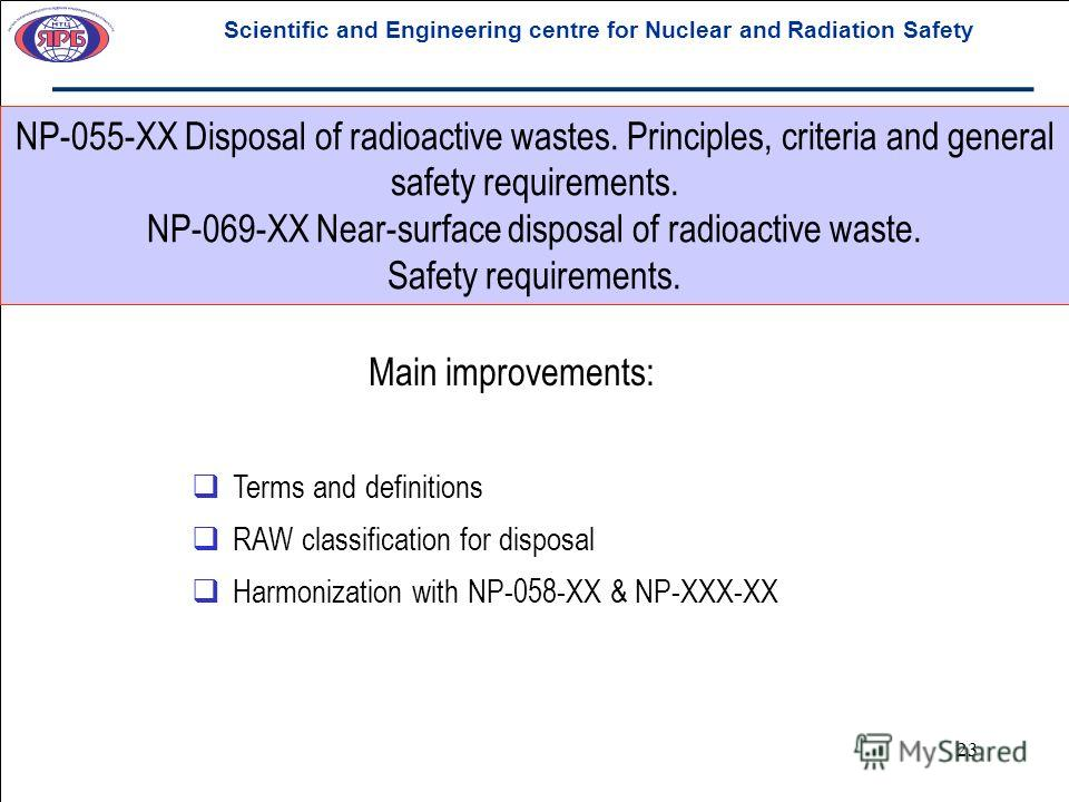 23 NP-055-XX Disposal of radioactive wastes. Principles, criteria and general safety requirements. NP-069-XX Near-surface disposal of radioactive waste. Safety requirements. Scientific and Engineering centre for Nuclear and Radiation Safety Main impr