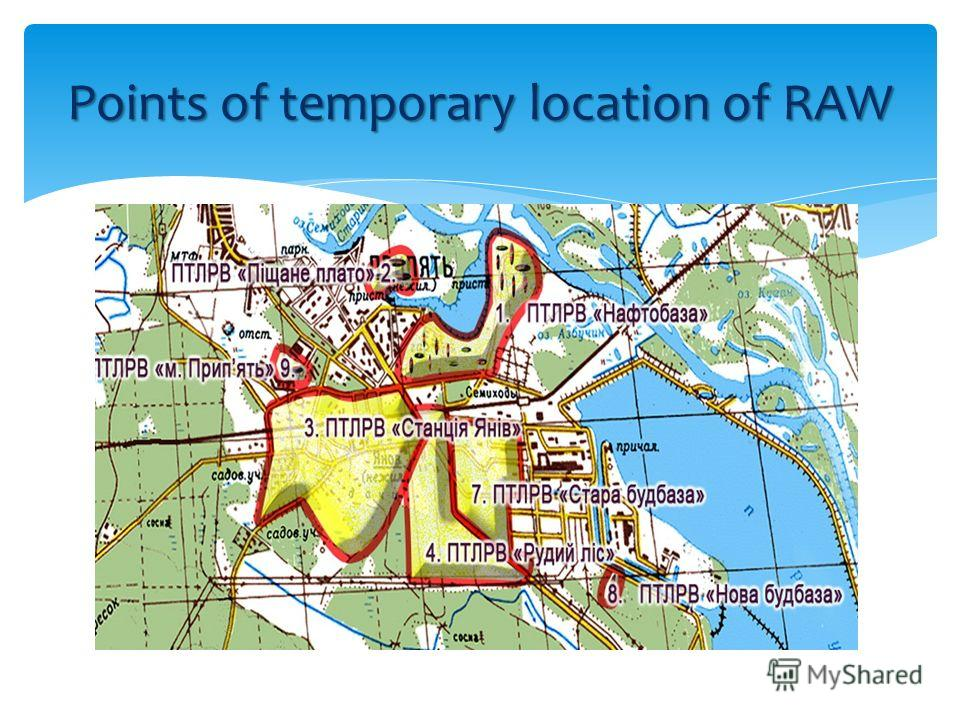 Points of temporary location of RAW