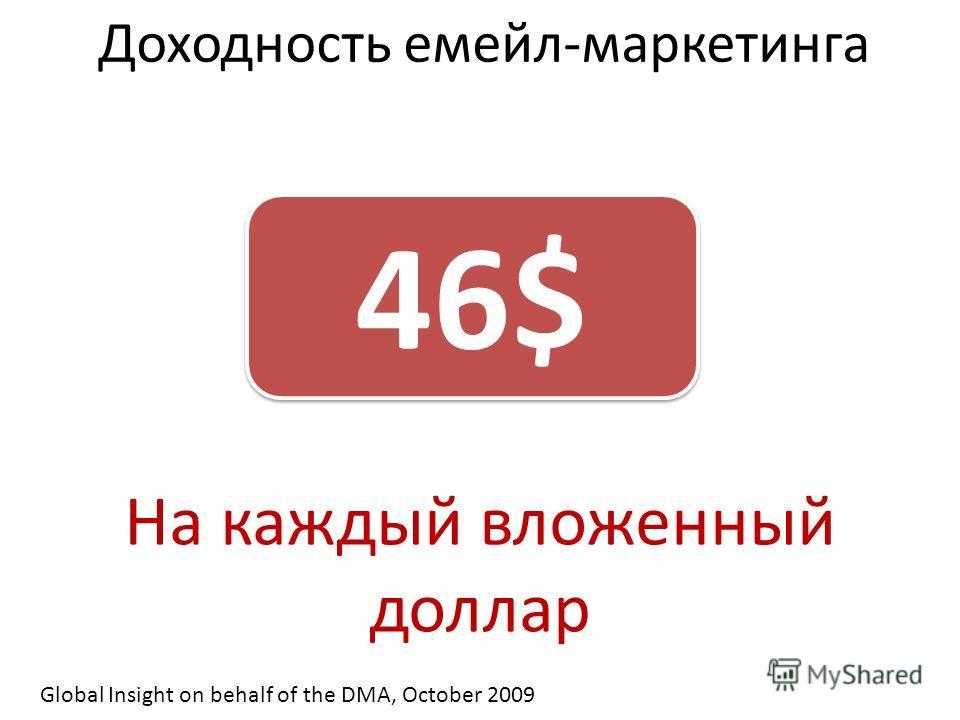 Доходность емейл-маркетинга 46$ На каждый вложенный доллар Global Insight on behalf of the DMA, October 2009