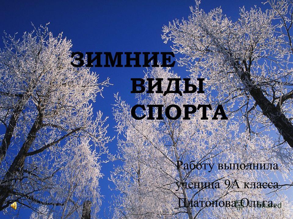 ЗИМНИЕ ВИДЫ СПОРТА Работу выполнила ученица 9А класса Платонова Ольга.