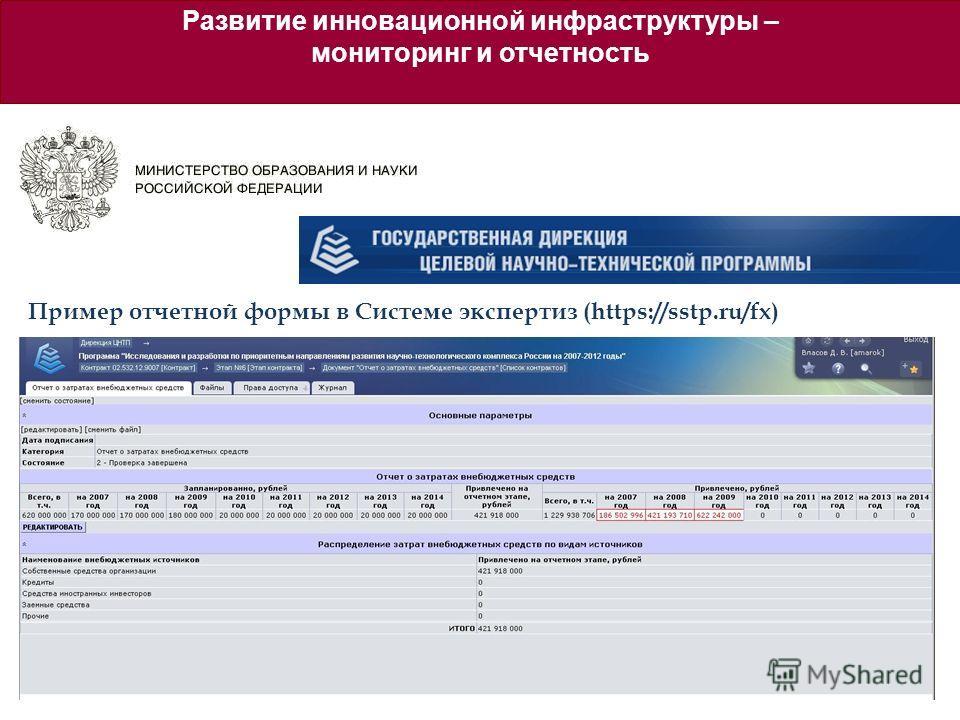 Пример отчетной формы в Системе экспертиз (https://sstp.ru/fx) Развитие инновационной инфраструктуры – мониторинг и отчетность