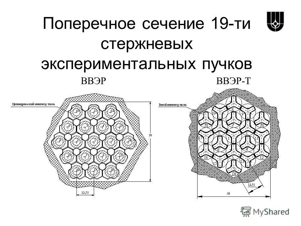 Поперечное сечение 19-ти стержневых экспериментальных пучков ВВЭРВВЭР-Т
