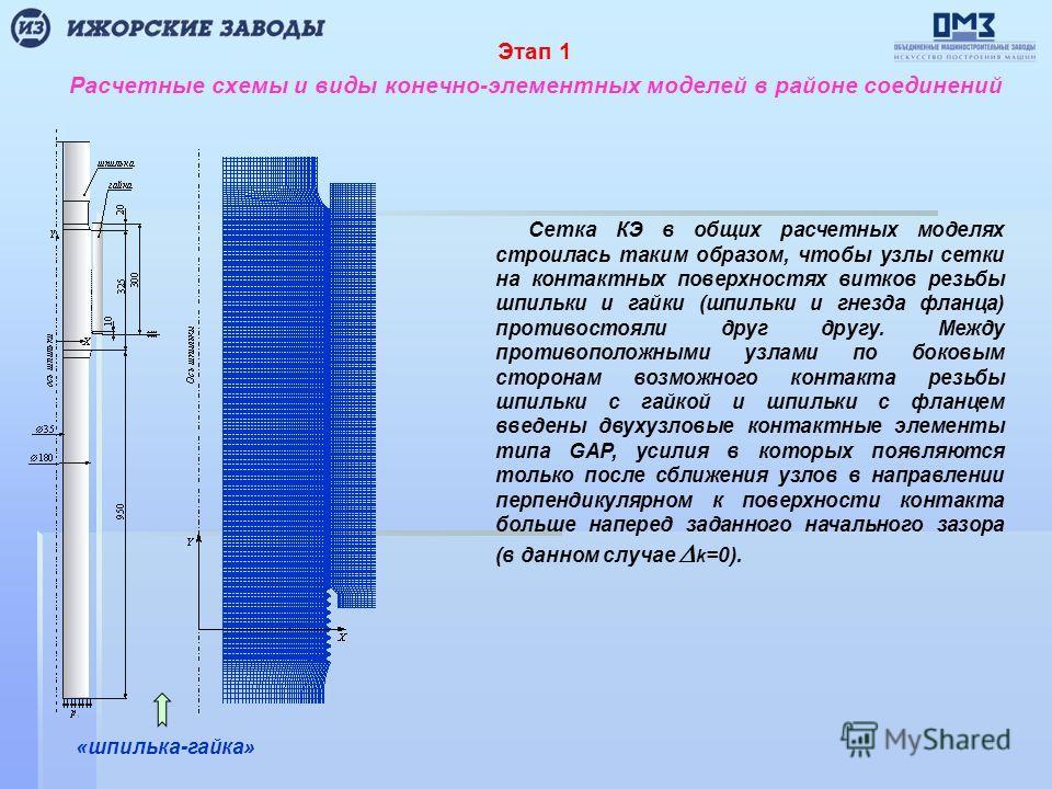 Расчетные схемы и виды конечно-элементных моделей в районе соединений «шпилька-гайка» Этап 1 Сетка КЭ в общих расчетных моделях строилась таким образом, чтобы узлы сетки на контактных поверхностях витков резьбы шпильки и гайки (шпильки и гнезда фланц