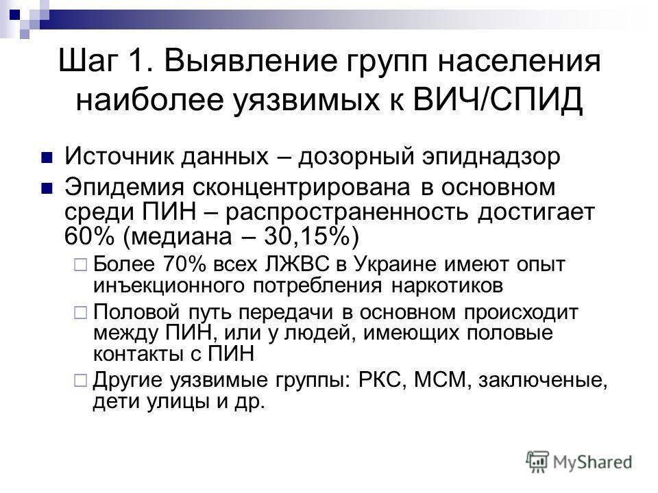 Шаг 1. Выявление групп населения наиболее уязвимых к ВИЧ/СПИД Источник данных – дозорный эпиднадзор Эпидемия сконцентрирована в основном среди ПИН – распространенность достигает 60% (медиана – 30,15%) Более 70% всех ЛЖВС в Украине имеют опыт инъекцио