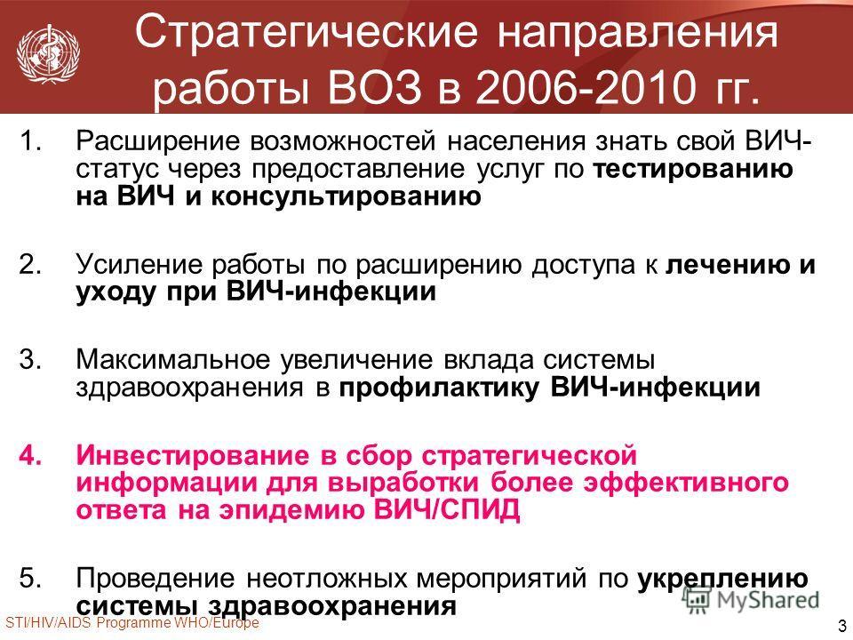 STI/HIV/AIDS Programme WHO/Europe 3 Стратегические направления работы ВОЗ в 2006-2010 гг. 1.Расширение возможностей населения знать свой ВИЧ- статус через предоставление услуг по тестированию на ВИЧ и консультированию 2.Усиление работы по расширению