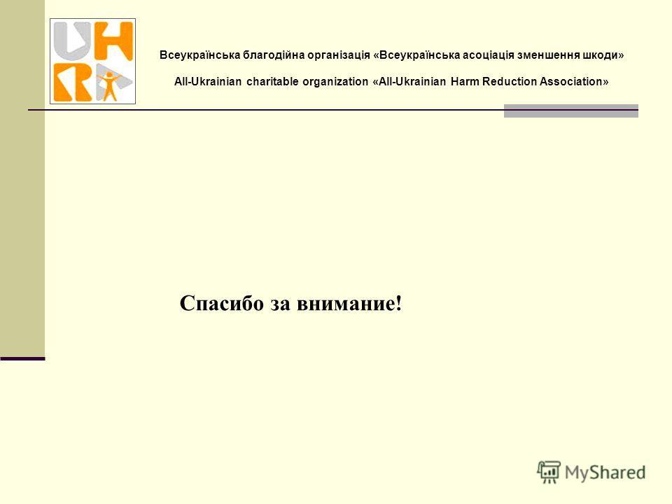 Всеукраїнська благодійна організація «Всеукраїнська асоціація зменшення шкоди» All-Ukrainian charitable organization «All-Ukrainian Harm Reduction Association» Спасибо за внимание!