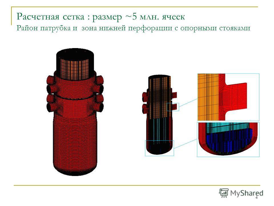 4 Расчетная сетка : размер ~5 млн. ячеек Район патрубка и зона нижней перфорации с опорными стояками