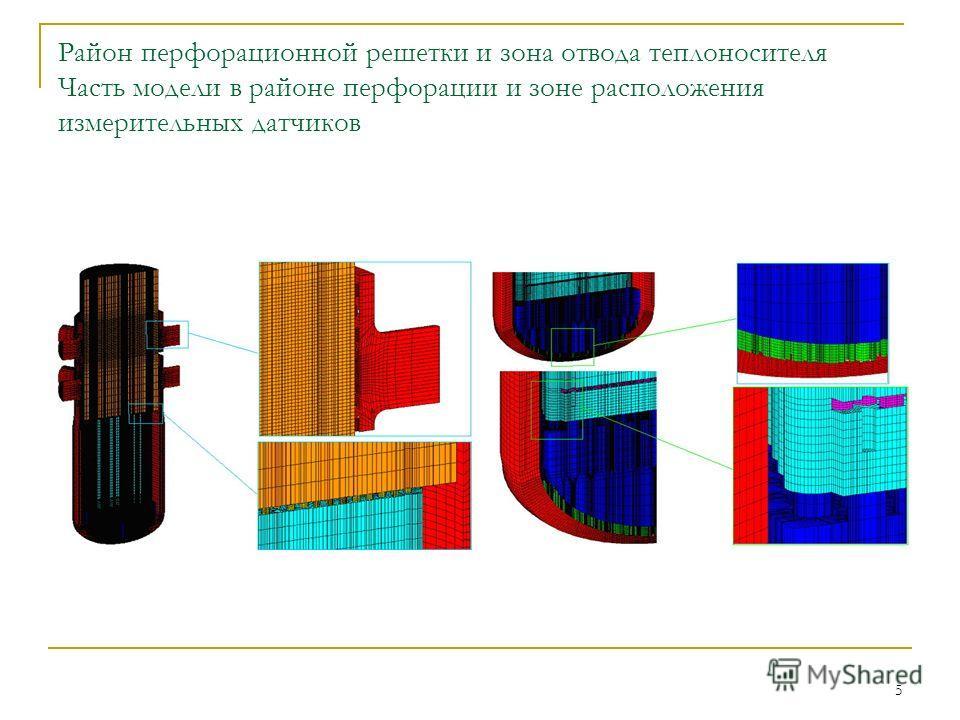 5 Район перфорационной решетки и зона отвода теплоносителя Часть модели в районе перфорации и зоне расположения измерительных датчиков