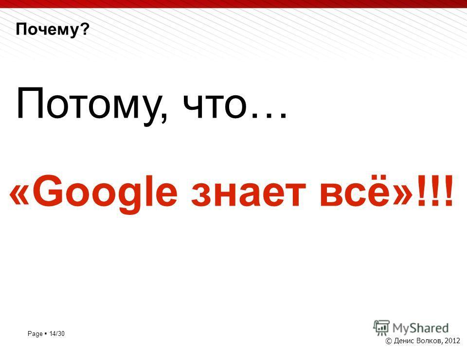Page 14/30 Почему? © Денис Волков, 2012 Потому, что… «Google знает всё»!!!