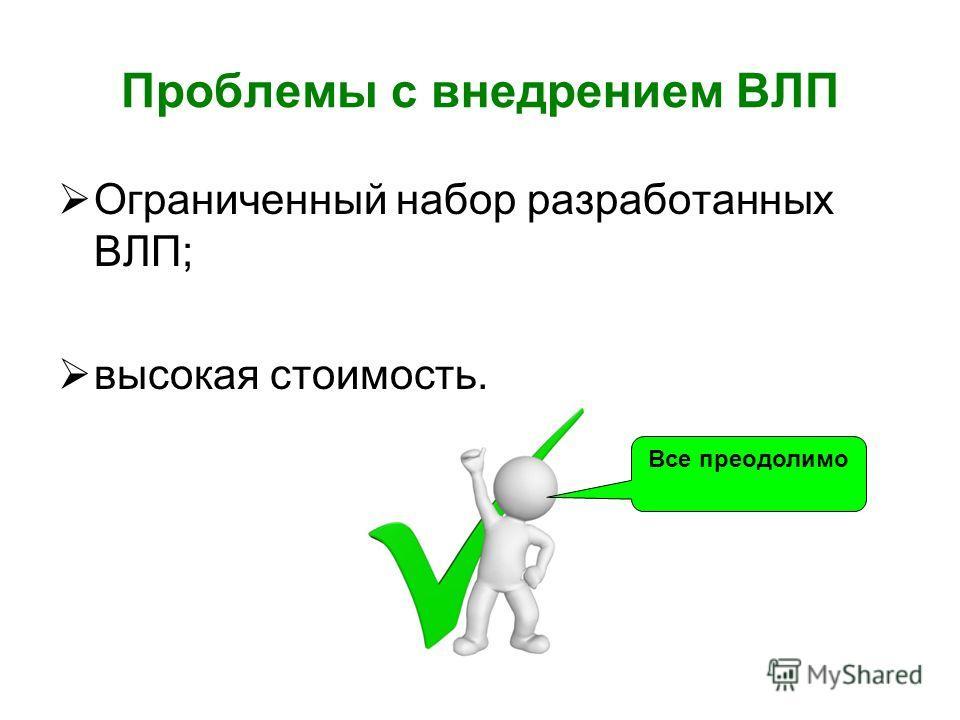 Проблемы с внедрением ВЛП Ограниченный набор разработанных ВЛП; высокая стоимость. Все преодолимо