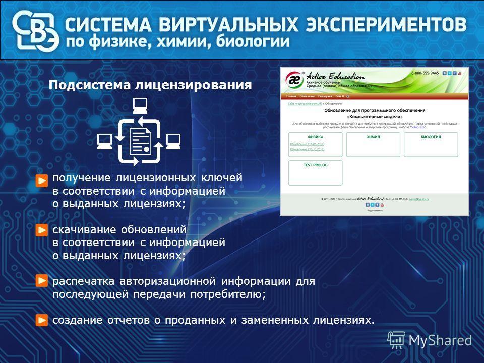 получение лицензионных ключей в соответствии с информацией о выданных лицензиях; скачивание обновлений в соответствии с информацией о выданных лицензиях; распечатка авторизационной информации для последующей передачи потребителю; создание отчетов о п