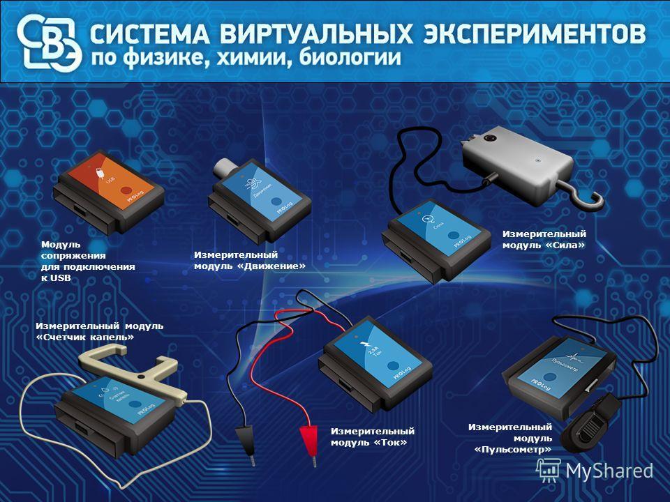 Модуль сопряжения для подключения к USB Измерительный модуль «Движение» Измерительный модуль «Пульсометр» Измерительный модуль «Ток» Измерительный модуль «Сила» Измерительный модуль «Счетчик капель»