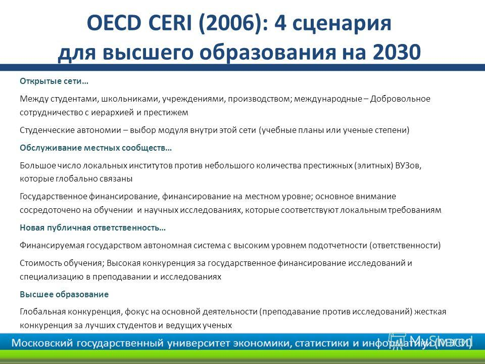 OECD CERI (2006): 4 сценария для высшего образования на 2030 Открытые сети… Между студентами, школьниками, учреждениями, производством; международные – Добровольное сотрудничество с иерархией и престижем Студенческие автономии – выбор модуля внутри э