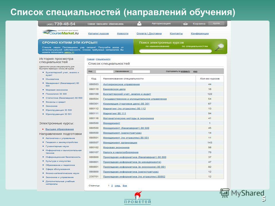 Список специальностей (направлений обучения) 5
