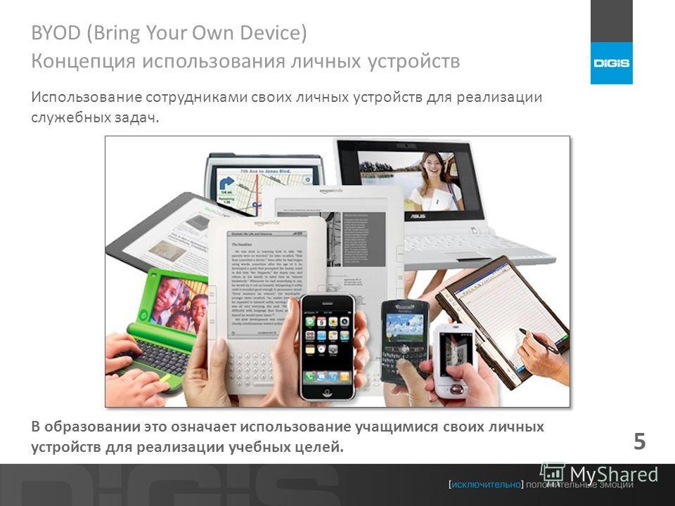 5 BYOD (Bring Your Own Device) Концепция использования личных устройств Использование сотрудниками своих личных устройств для реализации служебных задач. В образовании это означает использование учащимися своих личных устройств для реализации учебных
