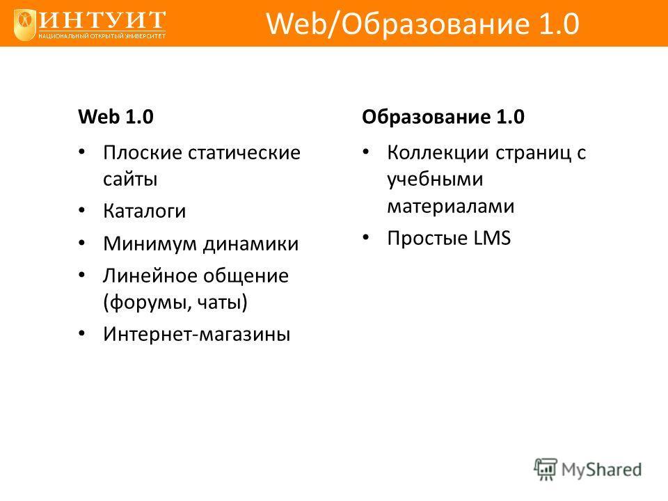 Web 1.0 Плоские статические сайты Каталоги Минимум динамики Линейное общение (форумы, чаты) Интернет-магазины Образование 1.0 Коллекции страниц с учебными материалами Простые LMS Web/Образование 1.0