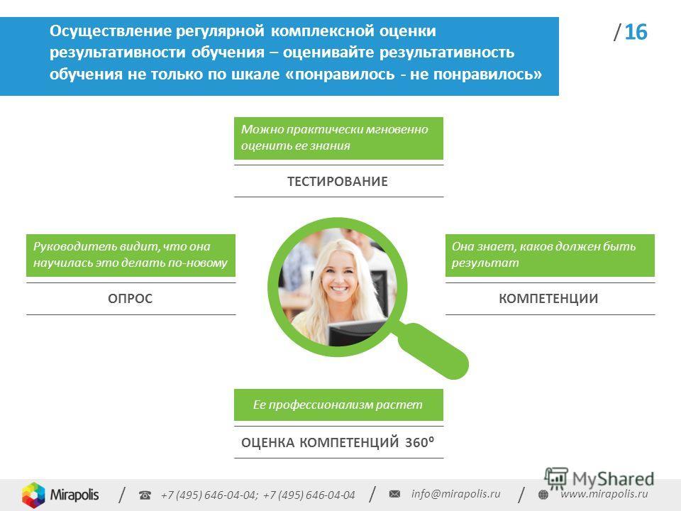 +7 (495) 646-04-04; +7 (495) 646-04-04 / / / info@mirapolis.ruwww.mirapolis.ru / 16 Осуществление регулярной комплексной оценки результативности обучения оценивайте результативность обучения не только по шкале «понравилось - не понравилось» / Ее проф