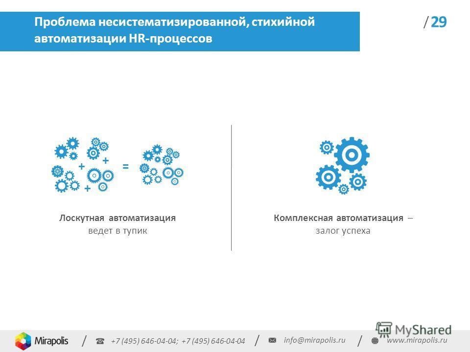 +7 (495) 646-04-04; +7 (495) 646-04-04 / / / info@mirapolis.ruwww.mirapolis.ru / 29 Проблема несистематизированной, стихийной автоматизации HR-процессов Лоскутная автоматизация ведет в тупик Комплексная автоматизация – залог успеха + + + =
