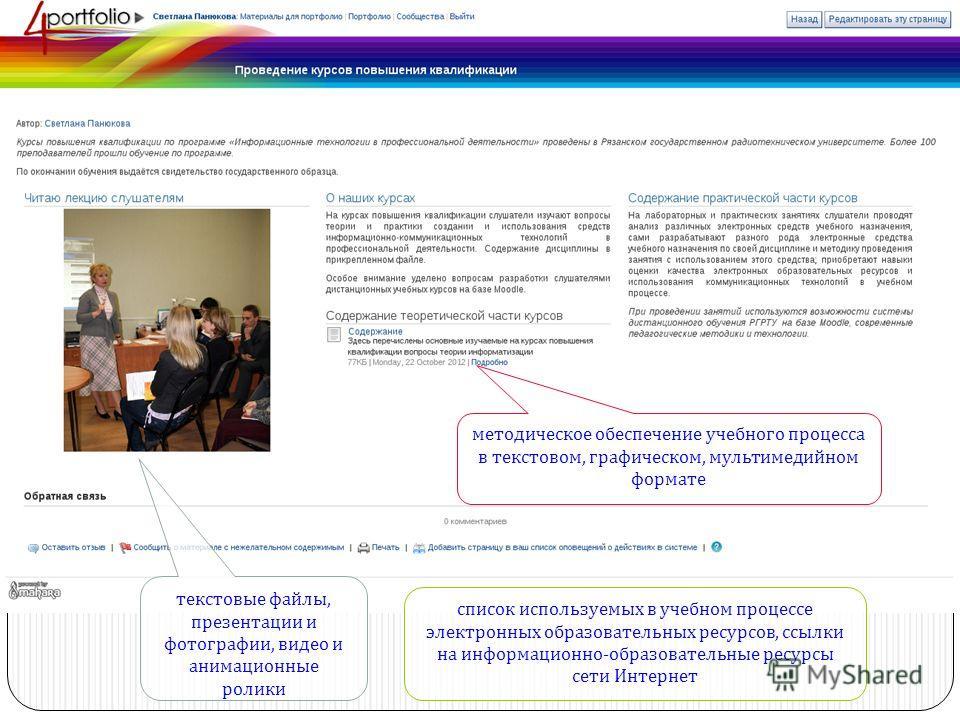 текстовые файлы, презентации и фотографии, видео и анимационные ролики список используемых в учебном процессе электронных образовательных ресурсов, ссылки на информационно - образовательные ресурсы сети Интернет методическое обеспечение учебного проц