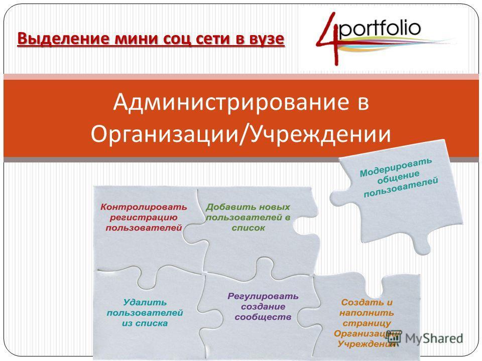 Администрирование в Организации / Учреждении Выделение мини соц сети в вузе