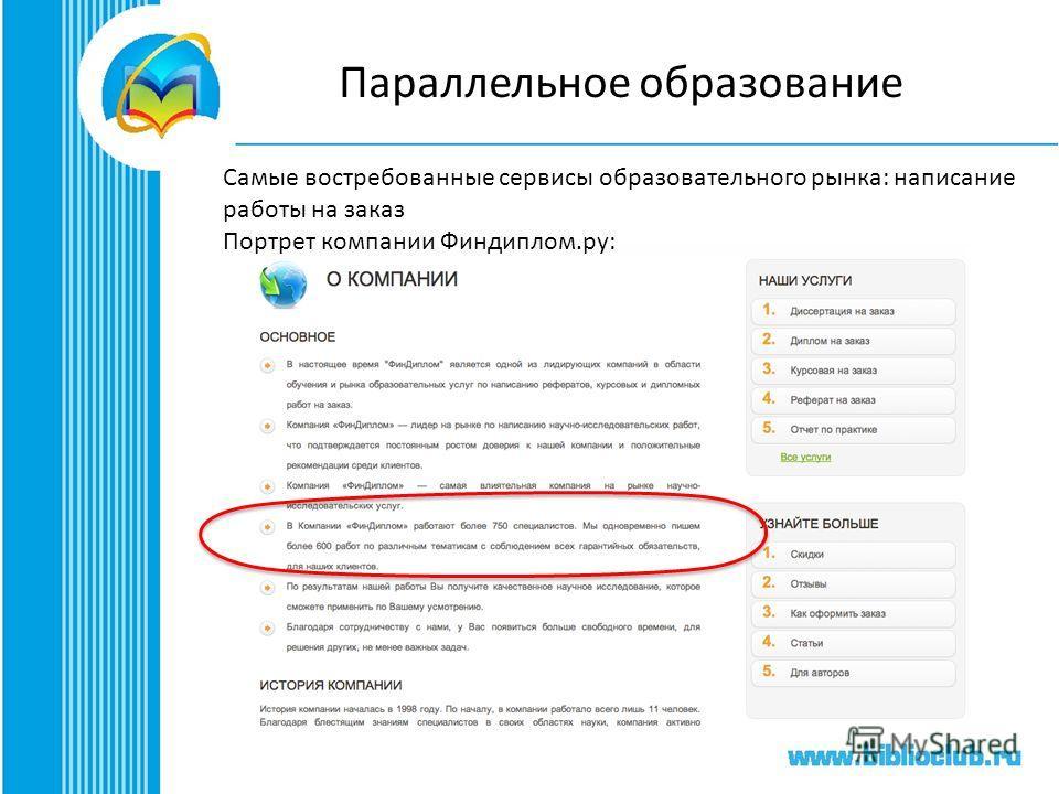 Параллельное образование Самые востребованные сервисы образовательного рынка: написание работы на заказ Портрет компании Финдиплом.ру: