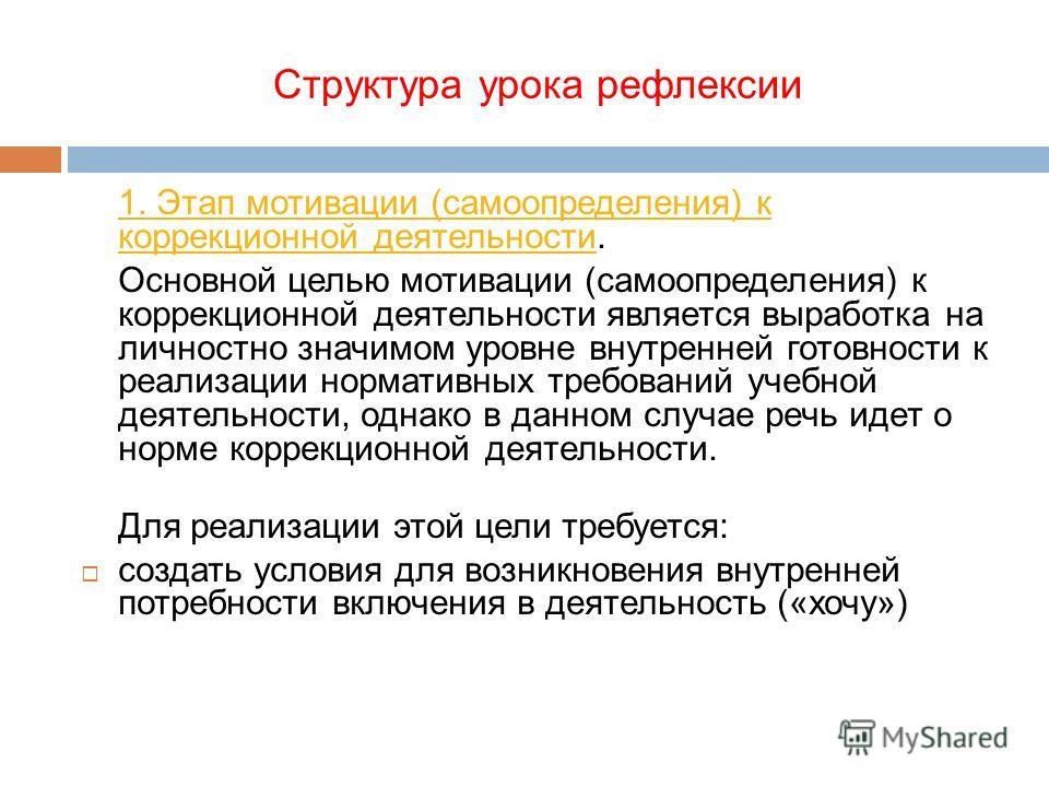 Структура урока рефлексии 1. Этап мотивации (самоопределения) к коррекционной деятельности1. Этап мотивации (самоопределения) к коррекционной деятельности. Основной целью мотивации (самоопределения) к коррекционной деятельности является выработка на