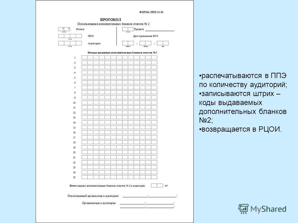 распечатываются в ППЭ по количеству аудиторий; записываются штрих – коды выдаваемых дополнительных бланков 2; возвращается в РЦОИ.