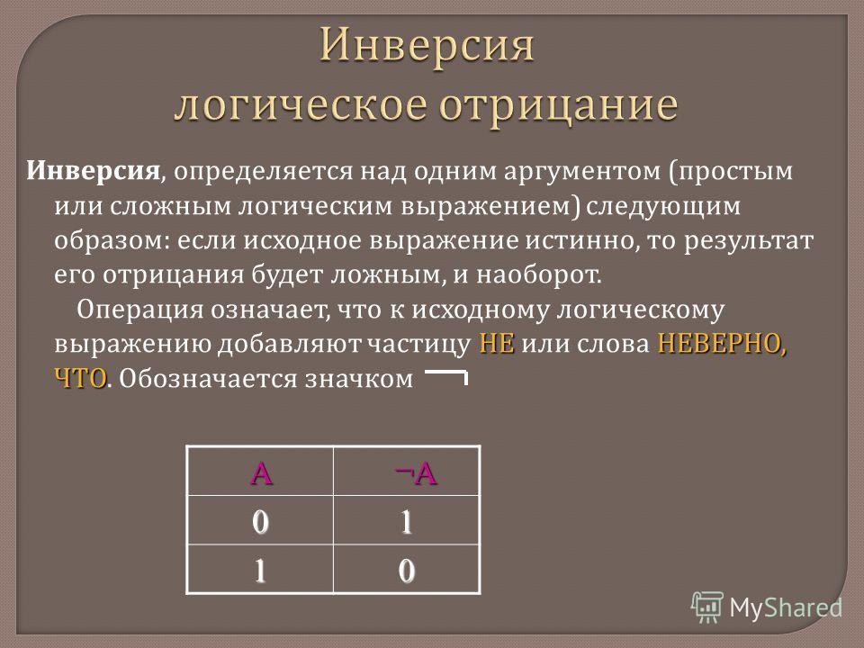 А ¬А ¬А 01 10 Инверсия логическое отрицание Инверсия, определяется над одним аргументом ( простым или сложным логическим выражением ) следующим образом : если исходное выражение истинно, то результат его отрицания будет ложным, и наоборот. НЕНЕВЕРНО,