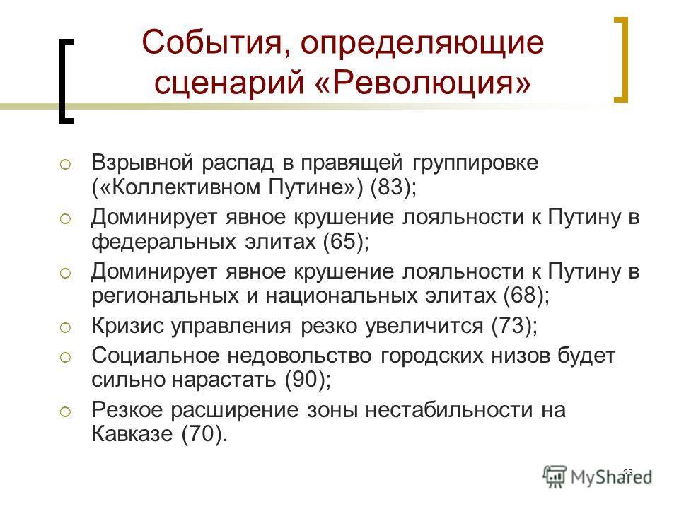 22 События, определяющие сценарий «Охранная диктатура» Досрочная отставка Правительства с новым силовым премьером (78); Нынешняя ситуация размежевания в правящей группировке («Коллективном Путине») не изменится (73); Проводится «Коллективным Путиным»