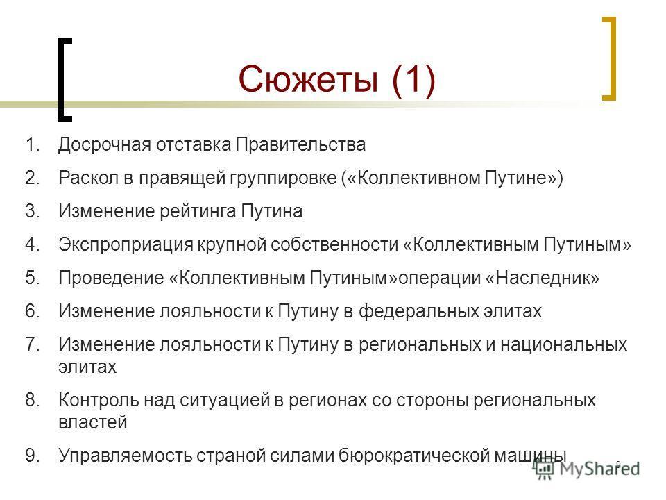 8 Сценарий «Smart Russia» Движение к модернизации по западному сценарию, восстановление нормальной политической конкуренции, повышение эффективности правовых институтов и т.п.