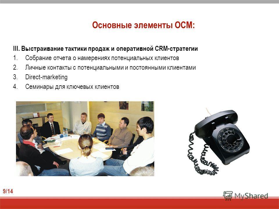 Основные элементы ОСМ: 9/14 III. Выстраивание тактики продаж и оперативной CRM-стратегии 1.Собрание отчета о намерениях потенциальных клиентов 2.Личные контакты с потенциальными и постоянными клиентами 3.Direct-marketing 4.Семинары для ключевых клиен